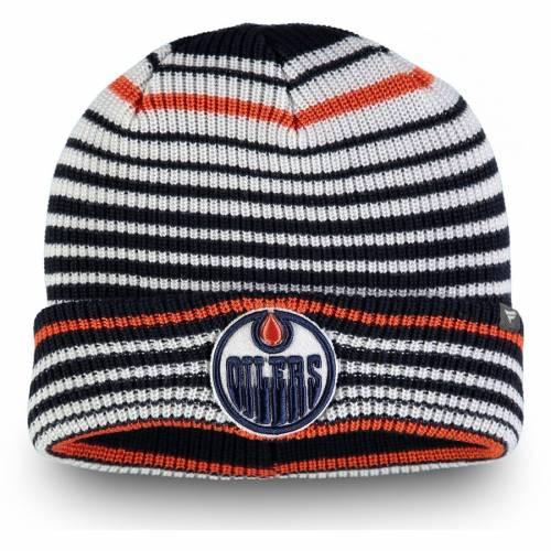 FANATICS BRANDED コア ニット 紺 ネイビー バッグ キャップ 帽子 メンズキャップ メンズ 【 Edmonton Oilers Iconic Layer Core Cuffed Knit Hat - Navy 】 Navy