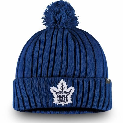 FANATICS BRANDED トロント コア ニット 青 ブルー バッグ キャップ 帽子 メンズキャップ メンズ 【 Toronto Maple Leafs Core Cuffed Knit Hat With Pom - Blue 】 Blue