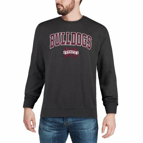 COLOSSEUM スケートボード ロゴ 黒 ブラック メンズファッション トップス スウェット トレーナー メンズ 【 Mississippi State Bulldogs Arch And Logo Crew Neck Sweatshirt - Black 】 Charcoal