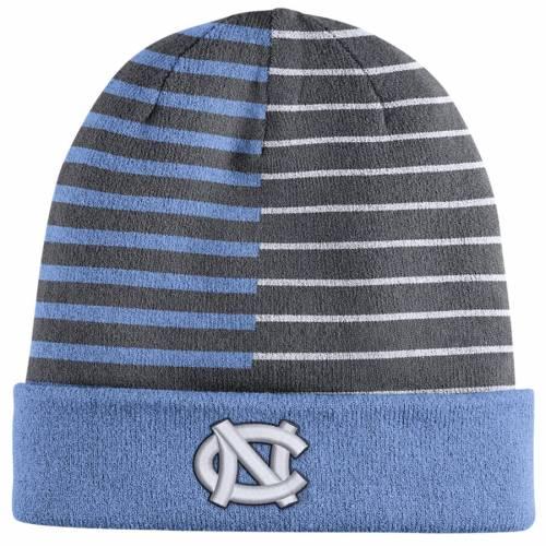 ナイキ NIKE ノース カロライナ リバーシブル ニット 青 ブルー バッグ キャップ 帽子 メンズキャップ メンズ 【 North Carolina Tar Heels Striped Reversible Cuffed Knit Hat With Pom - Carolina Blue 】 Carolina