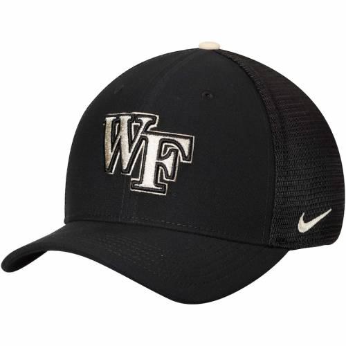 ナイキ NIKE フォレスト スウッシュ スウォッシュ パフォーマンス 黒 ブラック バッグ キャップ 帽子 メンズキャップ メンズ 【 Wake Forest Demon Deacons Swoosh Performance Meshback Flex Hat - Black 】 Bl