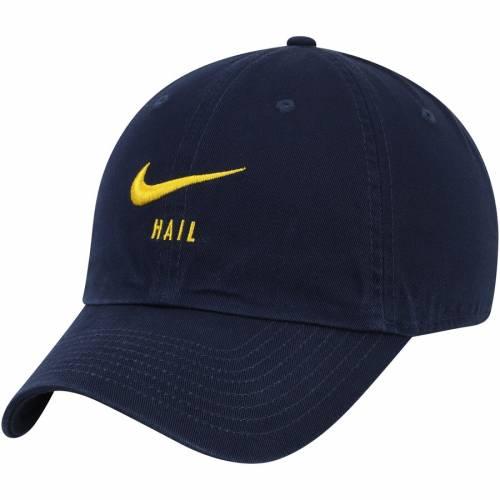 ナイキ NIKE ミシガン スウッシュ スウォッシュ チーム 紺 ネイビー バッグ キャップ 帽子 メンズキャップ メンズ 【 Michigan Wolverines Big Swoosh Heritage 86 Team Adjustable Hat - Navy 】 Navy