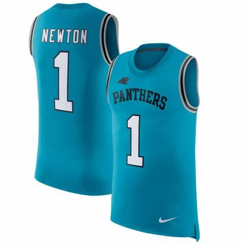 メンズファッション NEWTON COLOR CAM ブルー パンサーズ 【 & BLUE RUSH カロライナ ナイキ ラッシュ PLAYER NUMBER タンクトップ NIKE 】 タンクトップ トップス NAME NIKE 青色
