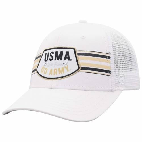 TOP OF THE WORLD 黒 ブラック トラッカー スナップバック バッグ 白 ホワイト キャップ 帽子 メンズキャップ メンズ 【 Army Black Knights Sunzy Trucker Snapback Adjustable Hat - White 】 White