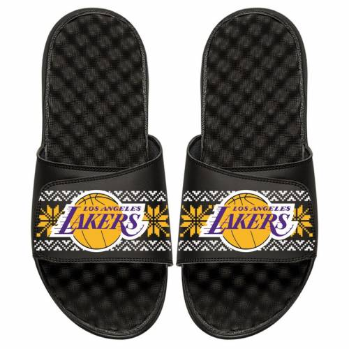 ISLIDE レイカーズ 子供用 サンダル 黒 ブラック 【 LAKERS SLIDE BLACK ISLIDE LOS ANGELES YOUTH UGLY SWEATER SANDALS 】 キッズ ベビー マタニティ