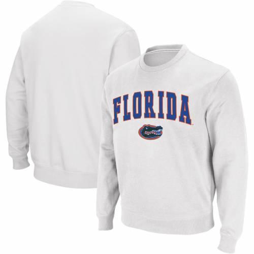 COLOSSEUM フロリダ ロゴ 白 ホワイト メンズファッション トップス スウェット トレーナー メンズ 【 Florida Gators Arch And Logo Crew Neck Sweatshirt - White 】 White