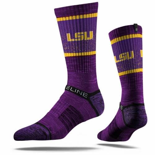 STRIDELINE タイガース ロゴ ソックス 靴下 紫 パープル インナー 下着 ナイトウエア メンズ 下 レッグ 【 Lsu Tigers Primary Logo Crew Socks - Purple 】 Purple