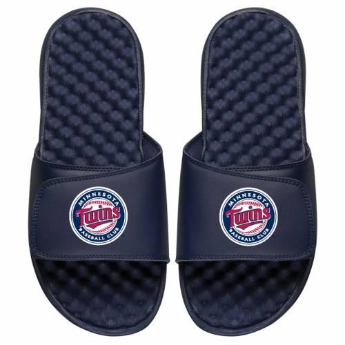 ISLIDE ミネソタ ツインズ 子供用 ロゴ サンダル 紺 ネイビー キッズ ベビー マタニティ ジュニア 【 [customized Item] Minnesota Twins Youth Personalized Primary Logo Slide Sandals - Navy 】 Navy