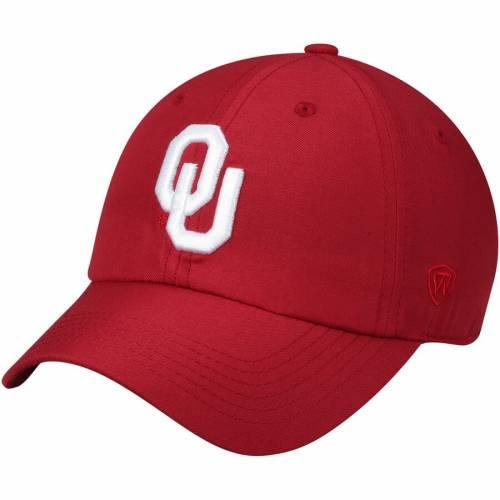 TOP OF THE WORLD ロゴ 黒 ブラック バッグ キャップ 帽子 メンズキャップ メンズ 【 Oklahoma Sooners Primary Logo Staple Adjustable Hat - Black 】 Crimson