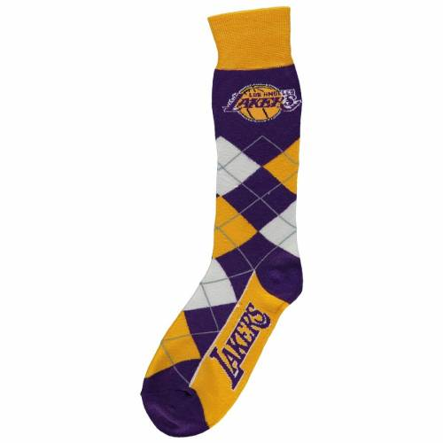 FOR BARE FEET レイカーズ ソックス 靴下 【 LAKERS FOR BARE FEET LOS ANGELES ARGYLE CREW SOCKS COLOR 】 インナー 下着 ナイトウエア メンズ 下 レッグ