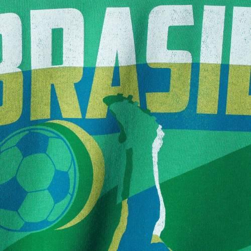 FIFTH SUN チーム 緑 グリーン メンズファッション トップス スウェット トレーナー メンズ 【 Brazil National Team Jagged Line Word Cup Crew Sweatshirt - Green 】 Green