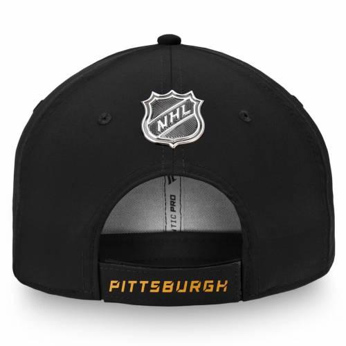 FANATICS BRANDED ピッツバーグ オーセンティック プロ 黒 ブラック バッグ キャップ 帽子 メンズキャップ メンズ 【 Pittsburgh Penguins Authentic Pro Rinkside Structured Adjustable Hat - Black 】 Black