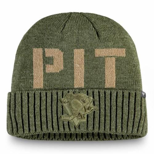 FANATICS BRANDED ピッツバーグ モダン ニット オリーブ バッグ キャップ 帽子 メンズキャップ メンズ 【 Pittsburgh Penguins Modern Utility Cuffed Knit Hat - Olive 】 Olive