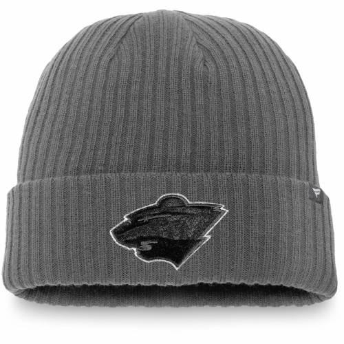 FANATICS BRANDED ミネソタ ワイルド ニット 灰色 グレー グレイ バッグ キャップ 帽子 メンズキャップ メンズ 【 Minnesota Wild Blackout Cuffed Knit Hat - Gray 】 Gray