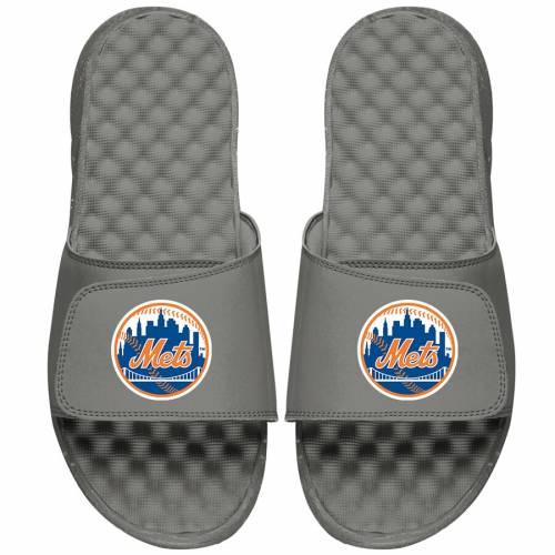 ISLIDE メッツ 子供用 ロゴ サンダル 灰色 グレー グレイ キッズ ベビー マタニティ ジュニア 【 New York Mets Youth Primary Logo Slide Sandals - Gray 】 Gray