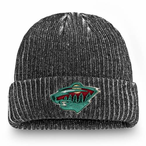 FANATICS BRANDED ミネソタ ワイルド オーセンティック プロ ニット 黒 ブラック バッグ キャップ 帽子 メンズキャップ メンズ 【 Minnesota Wild Authentic Pro Rinkside Cuffed Knit Hat - Black 】 Black