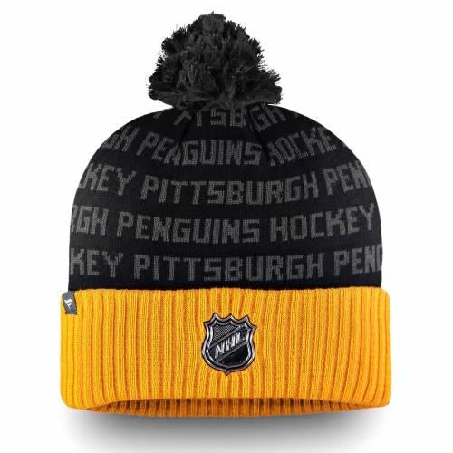 FANATICS BRANDED ピッツバーグ オーセンティック プロ ニット バッグ キャップ 帽子 メンズキャップ メンズ 【 Pittsburgh Penguins Authentic Pro Rinkside Cuffed Knit Hat With Pom - Gold/black 】 Gold/black