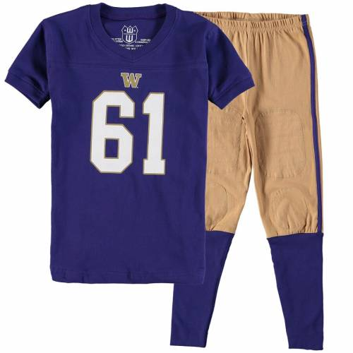 WES & WILLY ワシントン 子供用 紫 パープル キッズ ベビー マタニティ ジュニア 【 Washington Huskies Wes And Willy Youth Football Pajama Set - Purple 】 Purple