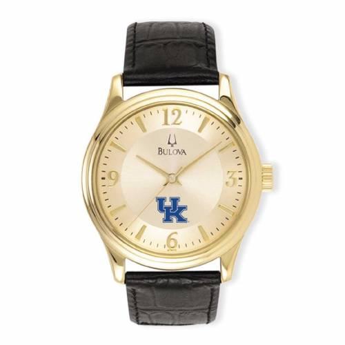 ブローバ BULOVA ケンタッキー ステンレス 銀色 スチール レザー ウォッチ 時計 金色 ゴールド 黒 ブラック 【 WATCH BLACK BULOVA KENTUCKY WILDCATS STAINLESS STEEL LEATHER BAND GOLD 】 腕時計 メンズ腕時計