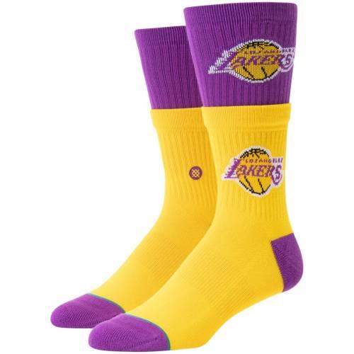 スタンス STANCE レイカーズ ソックス 靴下 インナー 下着 ナイトウエア メンズ 下 レッグ 【 Los Angeles Lakers Double Double Crew Socks - Gold 】 Gold