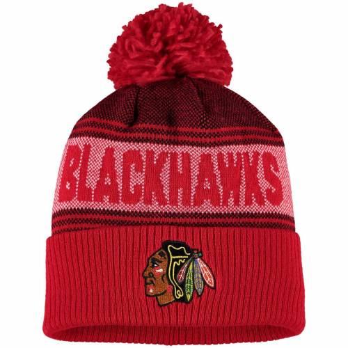 アディダス ADIDAS シカゴ ニット 赤 レッド バッグ キャップ 帽子 メンズキャップ メンズ 【 Chicago Blackhawks Mascot Cuffed Knit Hat With Pom - Red 】 Red