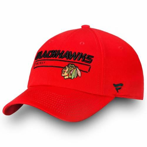 FANATICS BRANDED シカゴ オーセンティック プロ 赤 レッド バッグ キャップ 帽子 メンズキャップ メンズ 【 Chicago Blackhawks Authentic Pro Rinkside Fundamental Adjustable Hat - Red 】 Red
