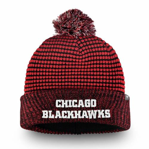 FANATICS BRANDED シカゴ ワッフル ニット バッグ キャップ 帽子 メンズキャップ メンズ 【 Chicago Blackhawks Waffle Heavy Cuffed Knit Hat With Pom - Red/black 】 Red/black