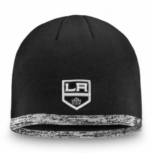 FANATICS BRANDED キングス オーセンティック プロ キャップ 帽子 黒 ブラック バッグ メンズキャップ メンズ 【 Los Angeles Kings Authentic Pro Rinkside Beanie - Black 】 Black