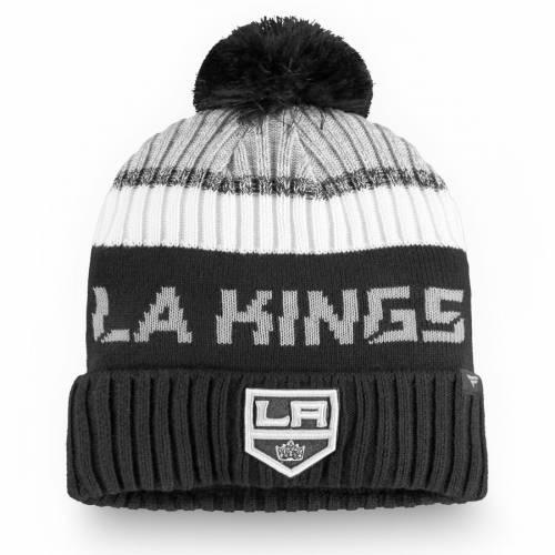 FANATICS BRANDED キングス オーセンティック プロ ニット バッグ キャップ 帽子 メンズキャップ メンズ 【 Los Angeles Kings Authentic Pro Rinkside Goalie Cuffed Knit Hat With Pom - Black/gray 】 Black/gray
