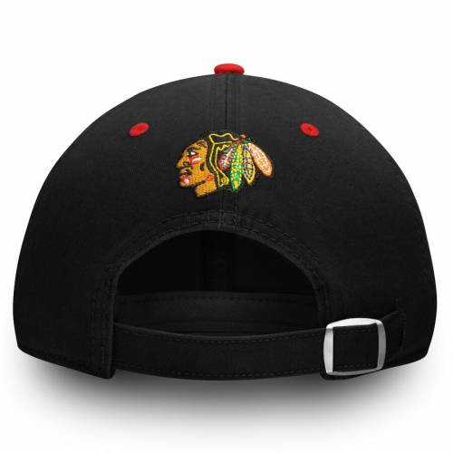 FANATICS BRANDED シカゴ 黒 ブラック バッグ キャップ 帽子 メンズキャップ メンズ 【 Chicago Blackhawks Primary Bar Adjustable Hat - Black 】 Black