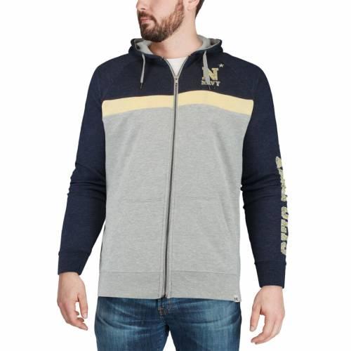 COLOSSEUM 紺 ネイビー メンズファッション トップス スウェット トレーナー メンズ 【 Navy Midshipmen Colorblocked Full-zip Hooded Sweatshirt - Heathered Gray/navy 】 Heathered Gray/navy