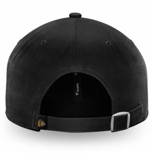 FANATICS BRANDED シカゴ 黒 ブラック バッグ キャップ 帽子 メンズキャップ メンズ 【 Chicago Blackhawks Pride Fundamental Adjustable Hat - Black 】 Black