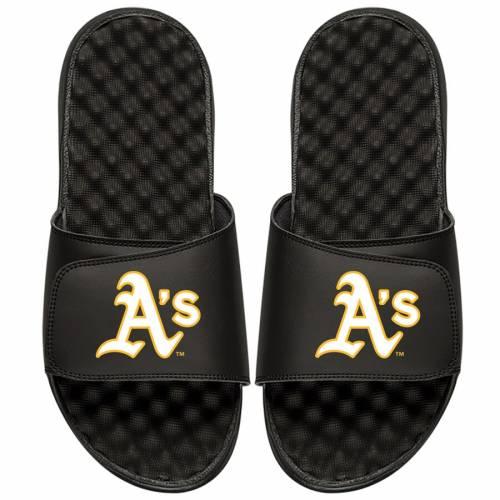 ISLIDE オークランド 子供用 ロゴ サンダル 黒 ブラック キッズ ベビー マタニティ ジュニア 【 Oakland Athletics Youth Alternate Logo Slide Sandals - Black 】 Black