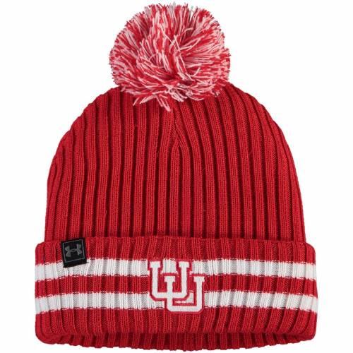 アンダーアーマー UNDER ARMOUR ユタ ニット 赤 レッド バッグ キャップ 帽子 メンズキャップ メンズ 【 Utah Utes Fundamental Cuffed Knit Hat - Red 】 Red