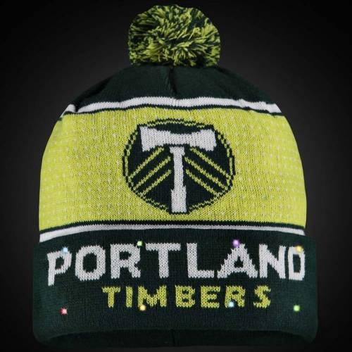 FOCO ポートランド ロゴ ニット 緑 グリーン バッグ キャップ 帽子 メンズキャップ メンズ 【 Portland Timbers Big Logo Light-up Cuffed Knit Hat With Pom - Green 】 Green