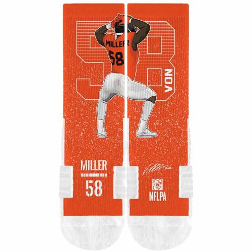 STRIDELINE デンバー ブロンコス ソックス 靴下 橙 オレンジ インナー 下着 ナイトウエア メンズ 下 レッグ 【 Von Miller Denver Broncos Comfy Full Sublimated Player Crew Socks - Orange 】 Orange