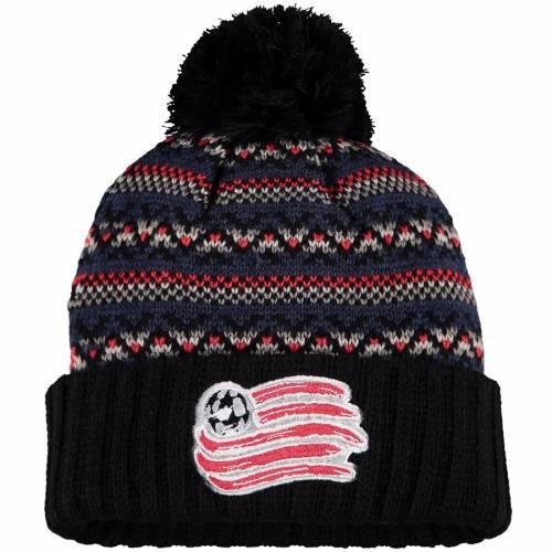 ミッチェル&ネス MITCHELL & NESS ニット 黒 ブラック バッグ キャップ 帽子 メンズキャップ メンズ 【 New England Revolution Mitchell And Ness Jacked Pom Cuffed Knit Hat - Black 】 Black