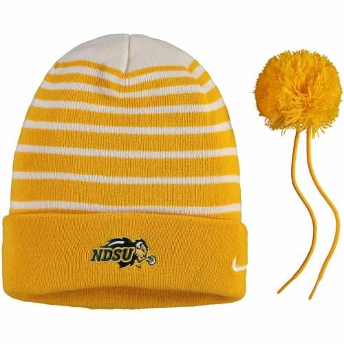 ナイキ NIKE チーム ロゴ サイドライン ニット 黄色 イエロー バッグ キャップ 帽子 メンズキャップ メンズ 【 Ndsu Bison Team Logo Sideline Cuffed Knit Hat With Pom - Yellow 】 Yellow