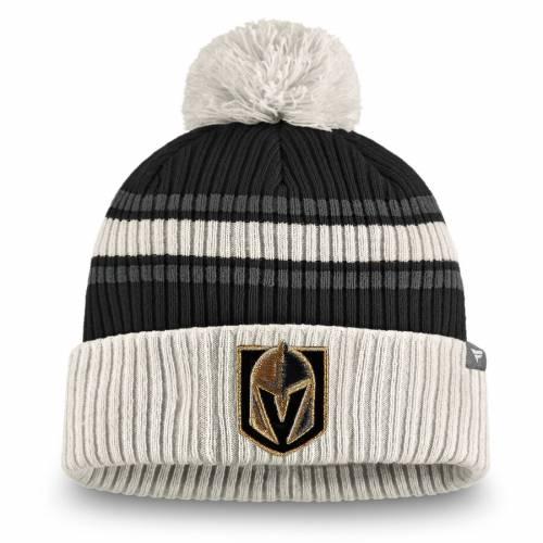 FANATICS BRANDED クラシック ニット バッグ キャップ 帽子 メンズキャップ メンズ 【 Vegas Golden Knights True Classic Pom Cuffed Knit Hat - Black/charcoal 】 Black/charcoal