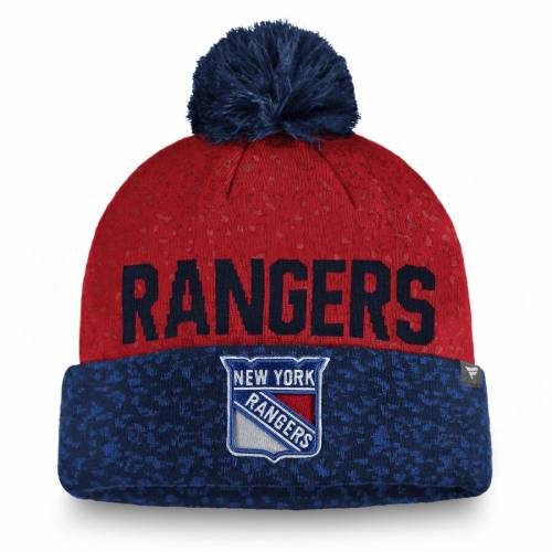 FANATICS BRANDED レンジャーズ ニット バッグ キャップ 帽子 メンズキャップ メンズ 【 New York Rangers Fan Weave Cuffed Knit Hat With Pom - Blue/red 】 Blue/red