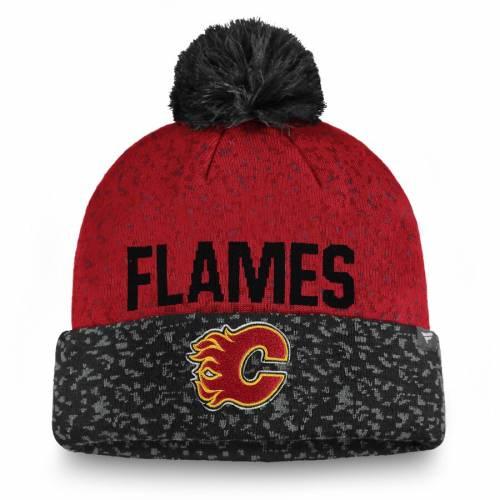 FANATICS BRANDED ニット バッグ キャップ 帽子 メンズキャップ メンズ 【 Calgary Flames Fan Weave Cuffed Knit Hat With Pom - Black/red 】 Black/red
