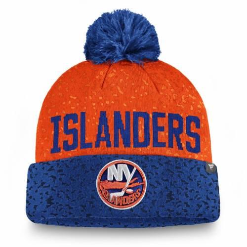 FANATICS BRANDED ニット バッグ キャップ 帽子 メンズキャップ メンズ 【 New York Islanders Fan Weave Cuffed Knit Hat With Pom - Royal/orange 】 Royal/orange