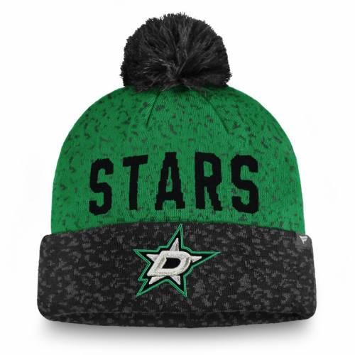 FANATICS BRANDED ダラス ニット 緑 グリーン バッグ キャップ 帽子 メンズキャップ メンズ 【 Dallas Stars Fan Weave Cuffed Knit Hat With Pom - Black/kelly Green 】 Black/kelly Green