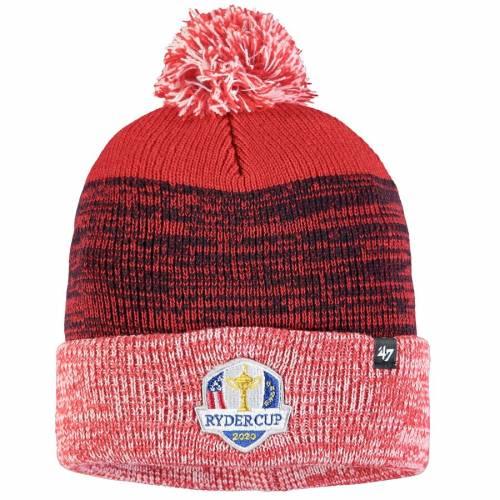 '47 ニット 赤 レッド バッグ キャップ 帽子 メンズキャップ メンズ 【 2020 Ryder Cup Static Cuffed Knit Hat With Pom - Red 】 Red