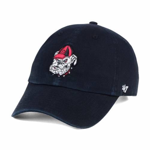 '47 赤 レッド バッグ キャップ 帽子 メンズキャップ メンズ 【 Georgia Bulldogs Clean Up Adjustable Hat - Red 】 Black
