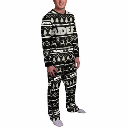 FOCO レイダース 黒 ブラック インナー 下着 ナイトウエア メンズ ナイト ルーム パジャマ 【 Las Vegas Raiders Holiday Wordmark Ugly Pajama Set - Black 】 Black