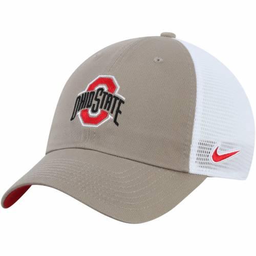 ナイキ NIKE オハイオ スケートボード トラッカー バッグ キャップ 帽子 メンズキャップ メンズ 【 Ohio State Buckeyes Heritage 86 Trucker Meshback Adjustable Hat - Scarlet 】 Khaki