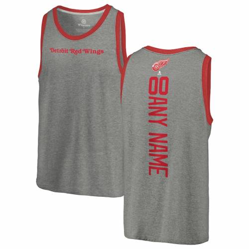 FANATICS BRANDED デトロイト 赤 レッド タンクトップ 灰色 グレー グレイ [CUSTOMIZED ITEM] 【 RED GRAY FANATICS BRANDED DETROIT WINGS PERSONALIZED PLAYMAKER TRIBLEND TANK TOP HEATHERED 】 メンズファッション トップ