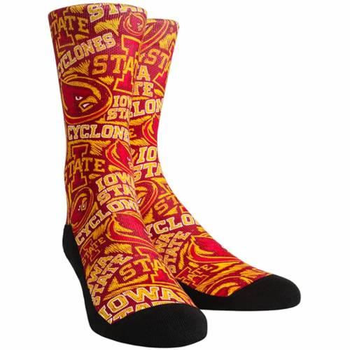 ROCK EM SOCKS スケートボード ロゴ ソックス 靴下 インナー 下着 ナイトウエア メンズ 下 レッグ 【 Iowa State Cyclones Logo Sketch Crew Socks 】 Color