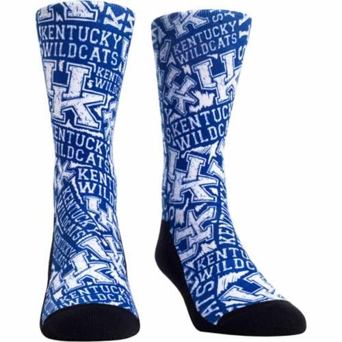 ROCK EM SOCKS ケンタッキー ロゴ ソックス 靴下 インナー 下着 ナイトウエア メンズ 下 レッグ 【 Kentucky Wildcats Logo Sketch Crew Socks 】 Color